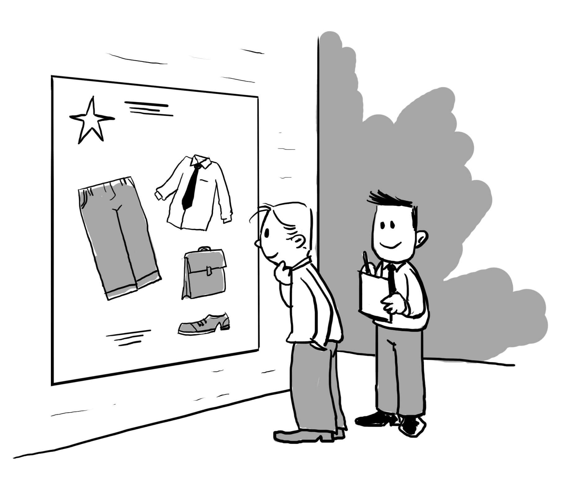 Illustration that shows customer observation in real life.